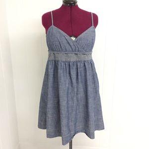L ANN TAYLOR Blue Cotton Denim Strappy Wrap Dress